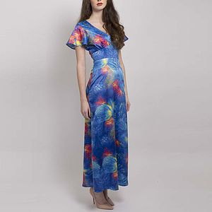 Flutter Sleeve Full Length Dress - women's fashion