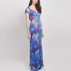 Printed Criss Cross Full Length Jersey Dress