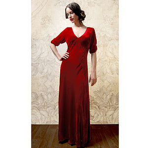 1940s Style Maxi Dress In Deep Red Silk Velvet - women's fashion