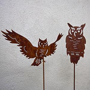Rusted Owl Garden Sculpture - art & decorations