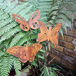 Three Rusted Butterfly Garden Sculptures - art & decorations