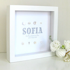 Personalised Christening Name Silver Crosses - children's room