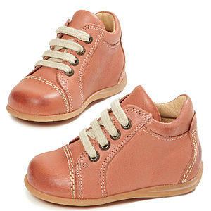 Coral Leather Baby Trainers - clothing
