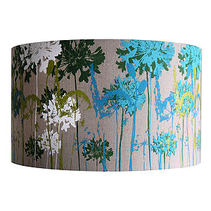 Floral Screen Printed Linen Lampshade - office & study