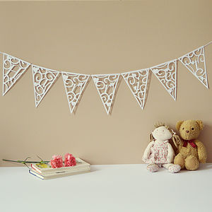Personalised Hearts And Swirls Bunting