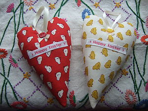 Happy Easter 'Chick' Fabric Hearts - home accessories