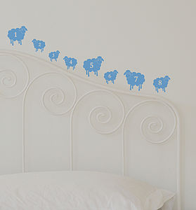Mini Counting Sheep Wall Sticker Set - office & study