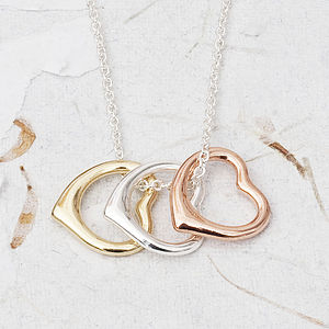 Sylvie Triple Love Heart Mixed Necklace - gifts for her