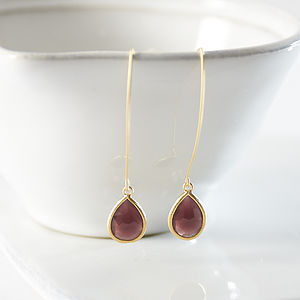 Gold Plated Red Wine Teardrop Earrings