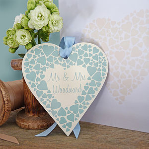 Personalised Enamel Wedding Heart And Card - wedding favours
