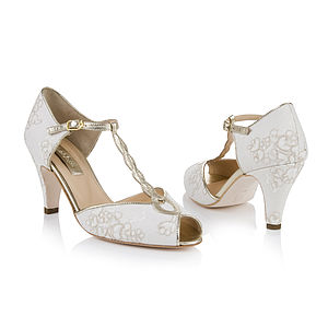 Rachel Antique Lace Peep Toe Wedding Shoes - women's fashion