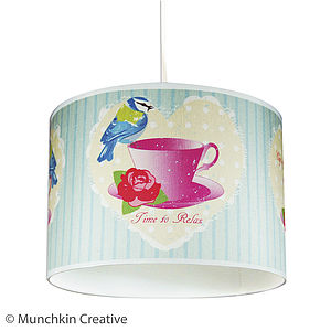 Bird And Tea Cup Vintage Lampshade - bedroom