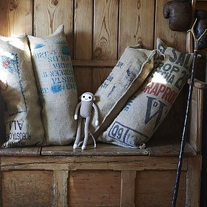 Hessian Reclaimed Coffee Sack Bolster - cushions