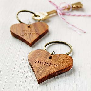 Personalised 'Mummy' Wooden Heart Keyring - jewellery