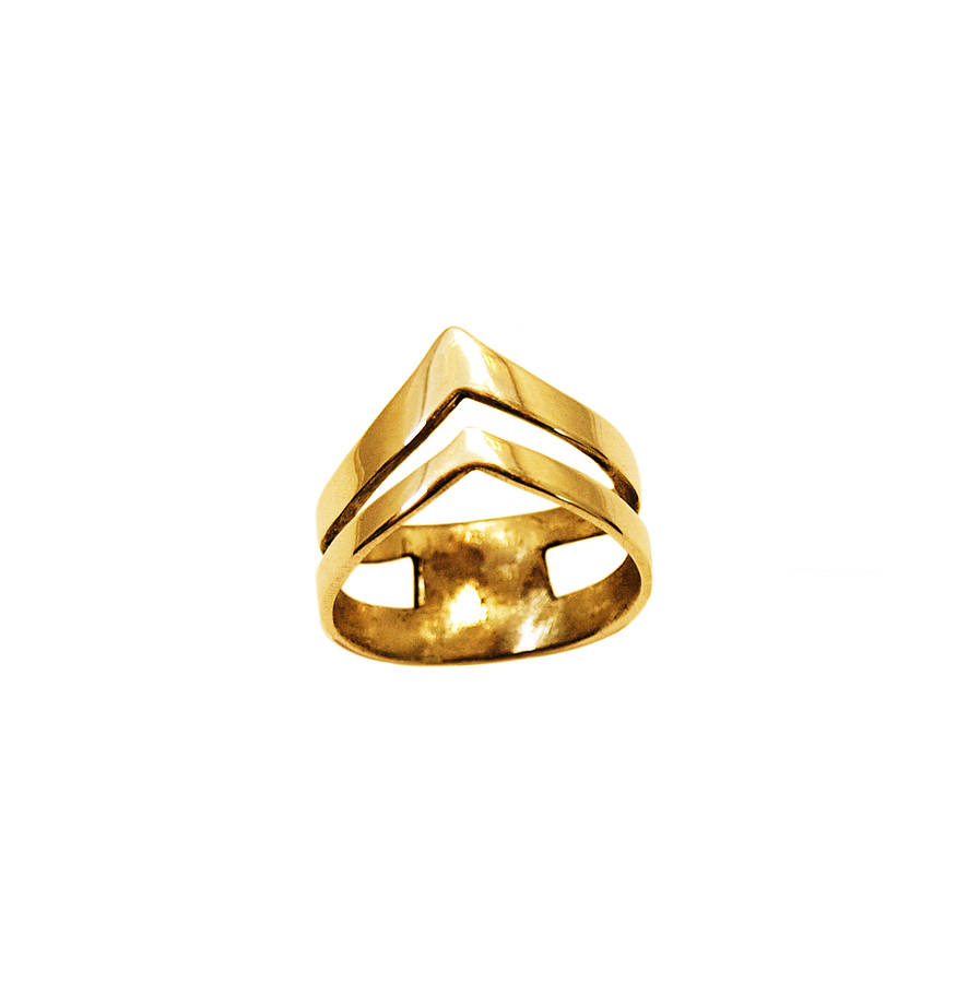 Double Gold Platinum: Gold Double Arrow Knuckle Ring Silver By Mei-li Rose