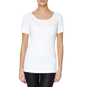 White Scoop Neck Modal Cotton T Shirt Rolled Sleeves
