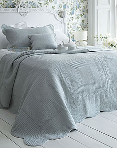 Eton Blue French Style Cotton Quilted Bedspread - bed, bath & table linen
