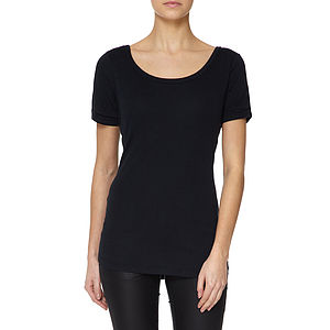 Black Boat Neck Scooped Back Modal Cotton T Shirt - tops & t-shirts
