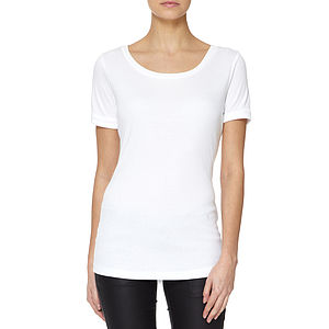 White Scooped Neck Modal Cotton T Shirt