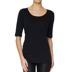 Black Half Sleeved Scoop Neck Modal Cotton T Shirt - tops & t-shirts