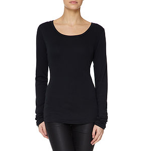 Black Long Sleeved Scoop Neck Modal Cotton T Shirt - tops & t-shirts