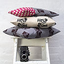 Retro Camera Cushions In Grey