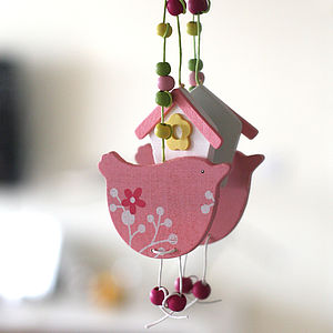 Five Pink Easter Spring Bird Decorations - baby's room