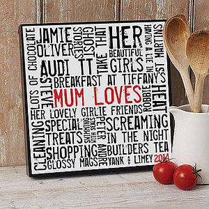 Personalised 'Loves' Typographic Artwork - gifts for the home