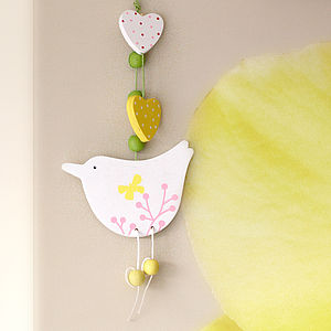 Five White Easter Spring Bird Decorations - baby's room