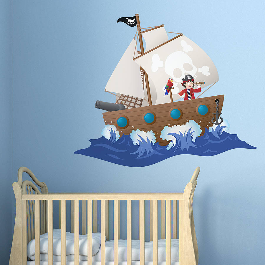 Childrens Pirate Ship Wall Sticker By Oakdene Designs