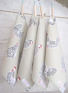 Handmade Chicken Napkins In Sage Or Duck Egg - table linen
