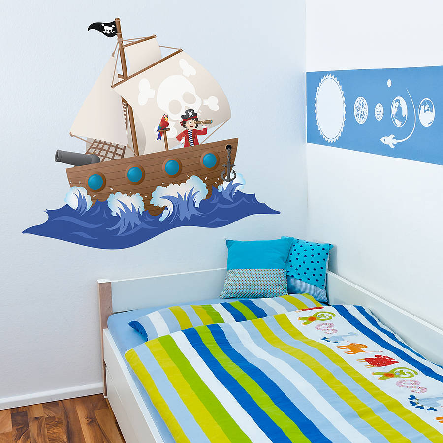 children u0027s pirate ship wall sticker by oakdene designs