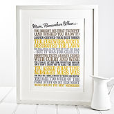 Personalised 'Remember When' Print - anniversary gifts