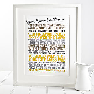 Personalised 'Remember When' Print - gifts for mothers