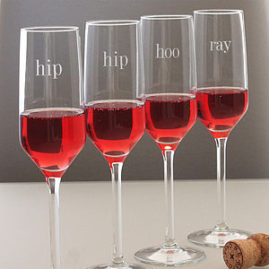 'Hip Hip Hooray' Champagne Glass Set - drink & barware