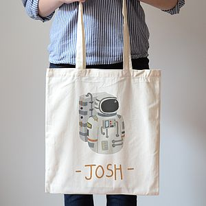 Personalised Astronaut Kids Custom Name Canvas Tote Bag