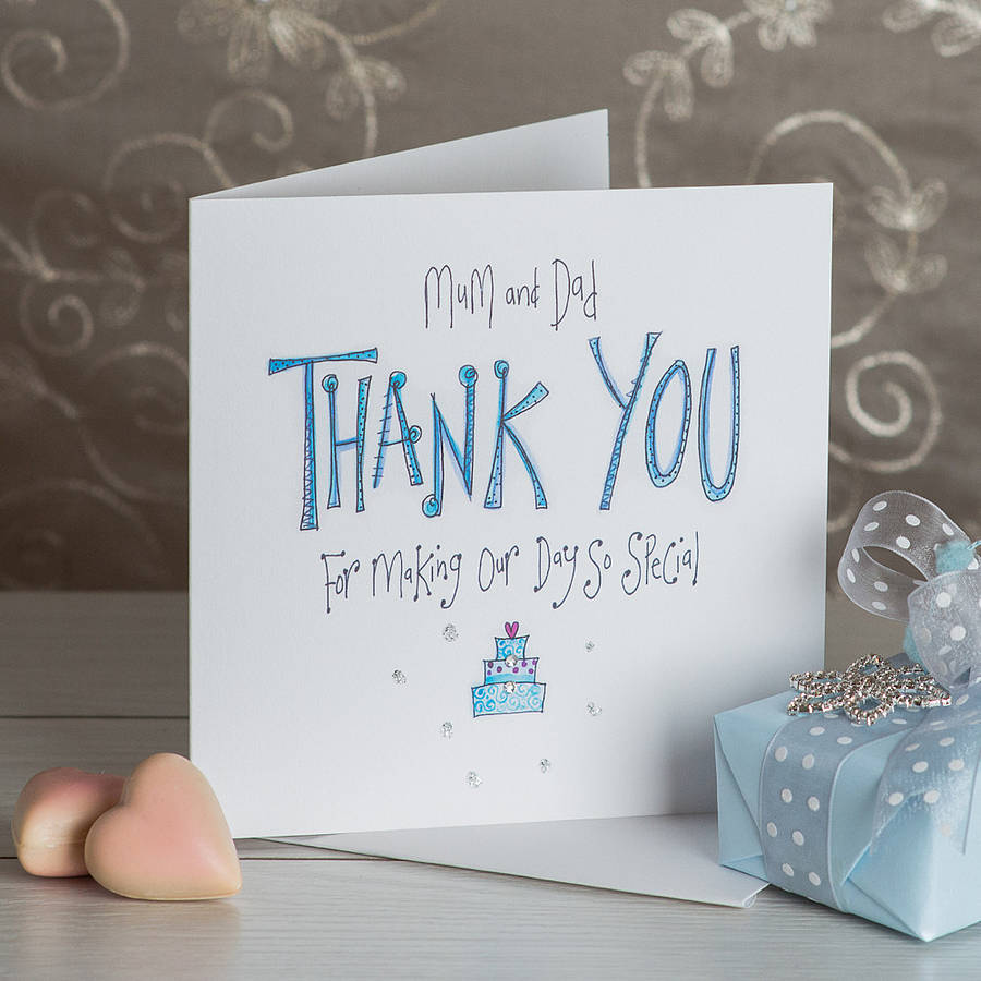 Crystal Mum And Dad Wedding Thank You Card