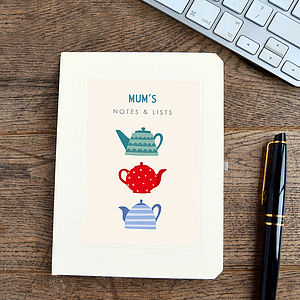 Personalised Mother's Day Teapots Notebook - gifts under £15