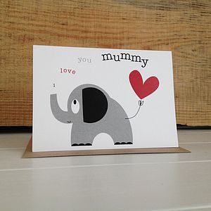 Heart And Elephant Mothers Day Greetings Card - cards & wrap