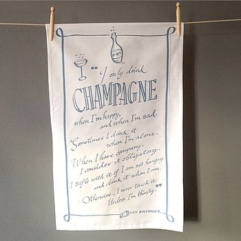 Champagne quote tea towel SLATE