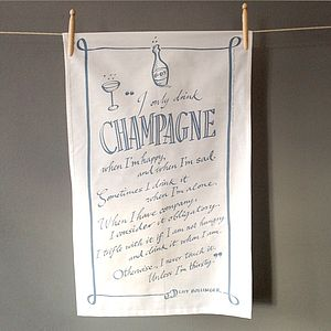 Champagne Quote Tea Towel - for the home