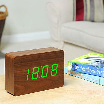 Rechargeable Walnut Brick Click Clock