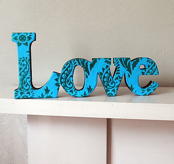 Love Wooden Word Turquoise