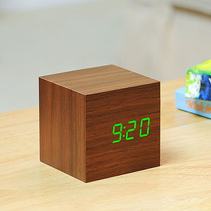 Cube Walnut Click Clock Green - clocks