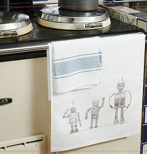 1950's Robot Tea Towel - kitchen linen