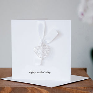 Happy Mother's Day Card With Wire Heart - necklaces & pendants