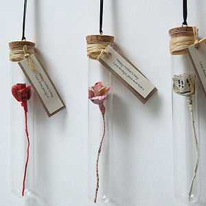 Handmade Paper Rose In A Glass Vial - artificial flowers