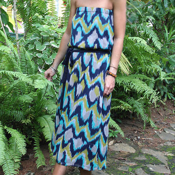 'Malachite Pond' Strapless Dress