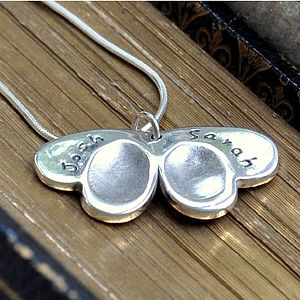 Double Fingerprint Silver Butterfly Pendant