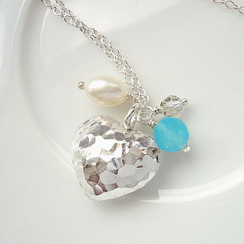 Puffed Hammered Heart Charm Necklace